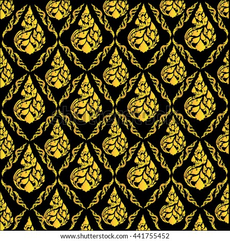 Beautiful Yellow gold Thai pattern seem floral, fern, leaves, lotus and fire pattern on black background for page and ground-paper - stock vector
