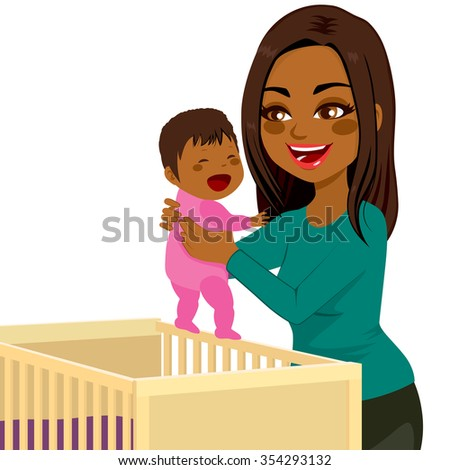 Beautiful young African American mom picking little baby from crib - stock vector