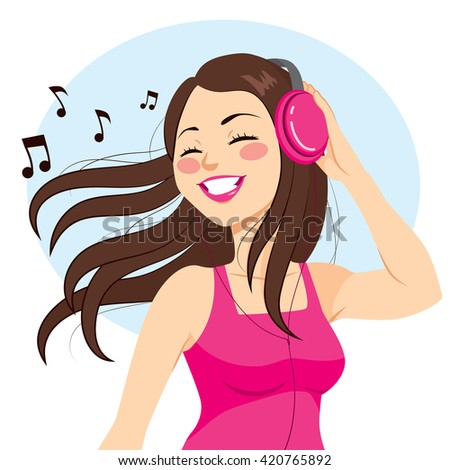 Beautiful young brunette woman listening music with headphones - stock vector