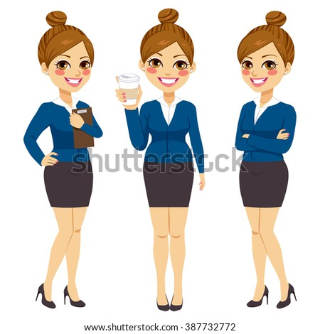 Beautiful young confident businesswoman on three different action with coffee crossed arms and folder - stock vector