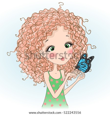 Beautiful young curly girl with a butterfly. Vector illustration.
