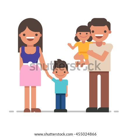 Beautiful young family portrait. Happy family gesturing with cheerful smile. Father, mother, son and daughter together. Vector flat illustration on white background - stock vector