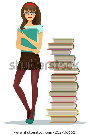 Beautiful young girl student wearing glasses clutching a file of notes standing alongside stacked books in a tall tower  vector illustration - stock vector