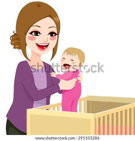 Beautiful young mom picking baby girl from crib - stock vector