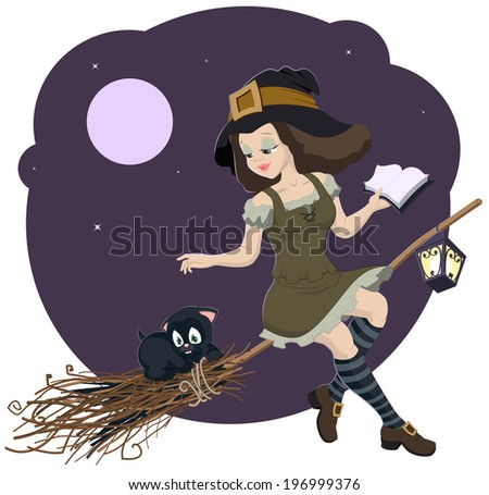 Beautiful young witch broom with cat - stock vector