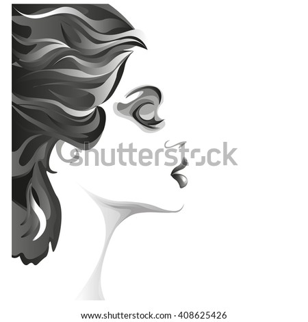 beautiful young woman black and white image, profile of calm lovely girl, attractive lady with fluttered hair - stock vector