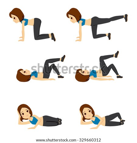 Beautiful young woman doing different glute routine fitness exercises - stock vector