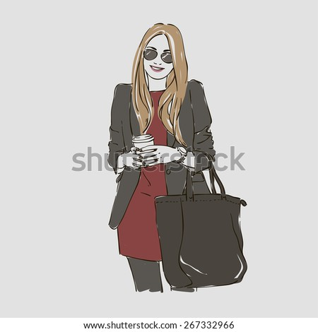 Beautiful young woman in fashion clothes and glasses, with coffee. Vector illustration  - stock vector