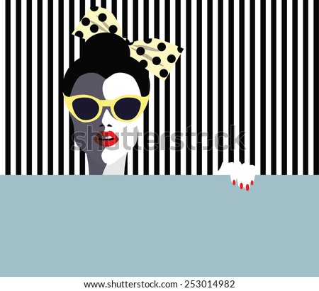 Beautiful young woman, retro style. Vector eps10 illustration  - stock vector