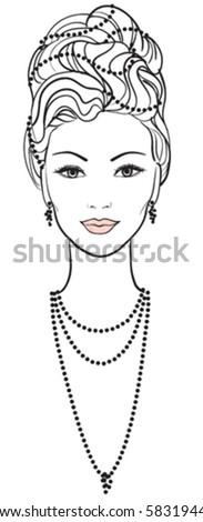 Beautiful young woman. Vector portrait - stock vector