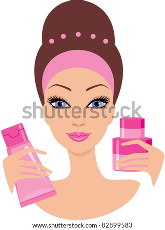 Beautiful young woman with a cosmetics set. vector, color full, no gradient - stock vector