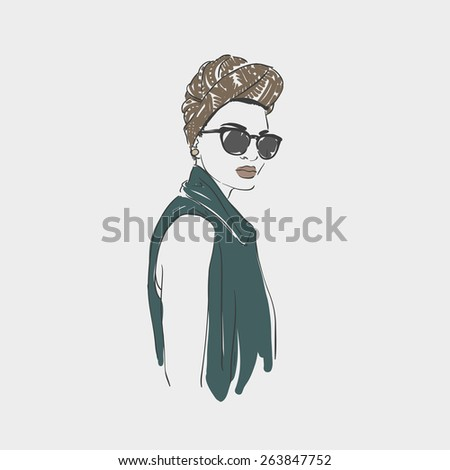Beautiful young women in a fashion clothes, turban and glasses. Vector hand drawn illustration. - stock vector
