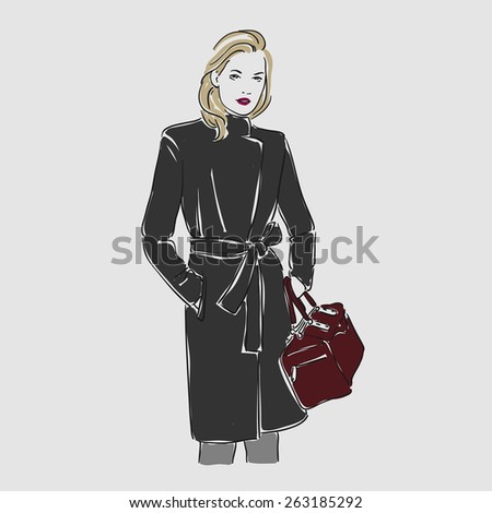 Beautiful young women in coat with bag. Hand drawn vector illustration - stock vector