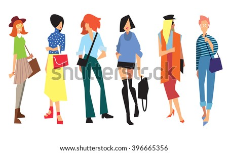 Beautiful young women in fashion clothing. Fashion women. Isolated fashion lady on white background. Vector women. Fashion clothing. Vogue style. Fashion model. Attractive women. Fashion women pose. - stock vector