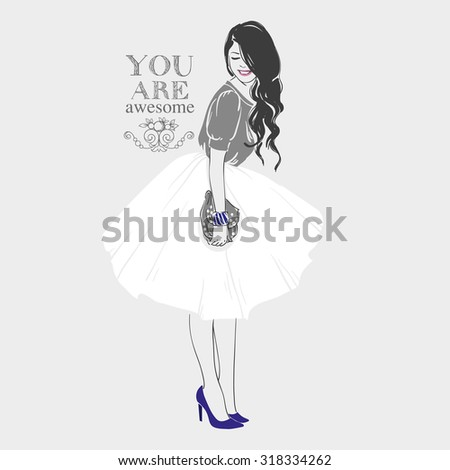 Beautiful young women in grey blouse, blue high heel shoes and white midi skirt with handbag. Vector hand drawn illustration. - stock vector