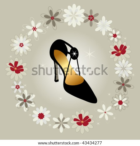 Beautiful yummy fashion shoe surrounded by flowers - stock vector