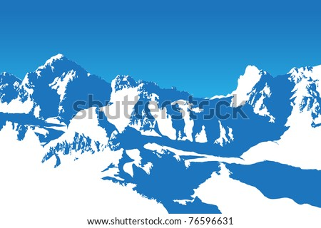 Beautifull winter mountain silhouette (vector background illustration) - stock vector