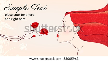 beautifull woman with redhair smells flowers - stock vector