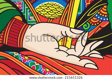 Beautifully detailed hand of Buddha. Bright, colorful, and serene. - stock vector
