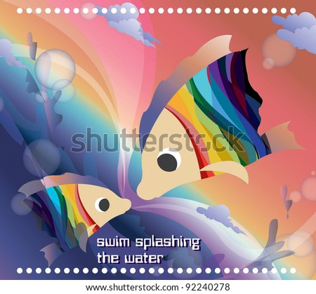 Beautifully Fantastic Seascape with Cute a pair of Fish - swim splashing the water - stock vector