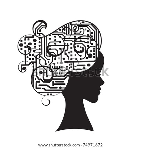 Beauty and brains - female profile with computer / circuit brain - stock vector