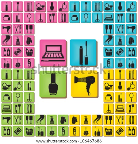 Beauty and care icons in four bright colors - stock vector