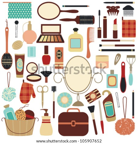 Beauty and care related symbols 2 - stock vector