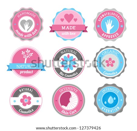 Beauty And Cosmetics Badges - stock vector