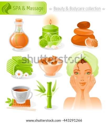 Beauty and cosmetics icon set with beautiful young adult woman, holding hand near face on white background. SPA and massage healthy lifestyle symbols for people's hair, skin and body care. - stock vector