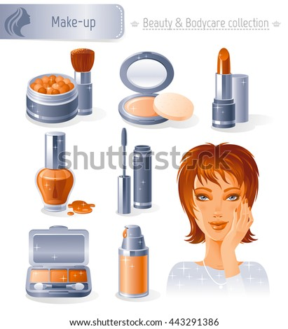 Beauty and cosmetics icon set with beautiful young adult woman, holding hand near face on white background. Make up healthy lifestyle symbols for people's hair, skin and body care. - stock vector