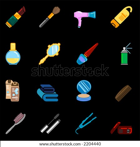 beauty and fashion icon series - stock vector
