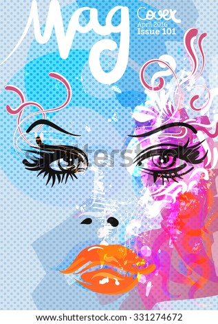 Beauty and fashion magazine cover, vector illustration
