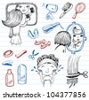 Beauty and healthcare Doodle set. - stock vector