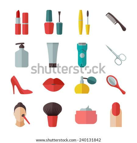Beauty and makeup flat icons - stock vector