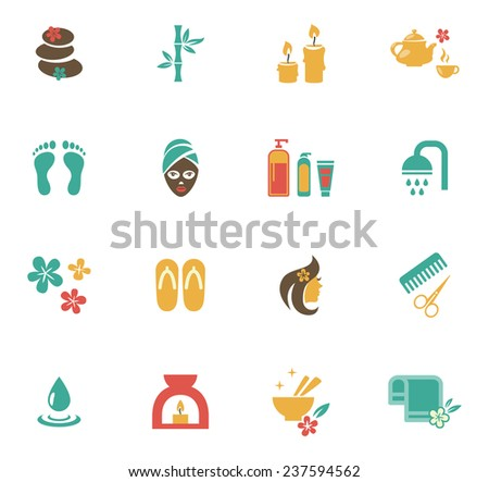 Beauty and Spa Icons. Means and items of body care, bamboo towel, slippers, candle, scissors, comb. Vector illustration - stock vector