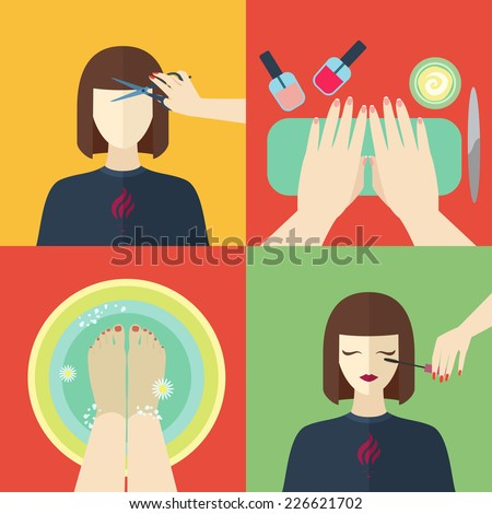 Beauty and spa procedures made in flat design. Vector icons set. - stock vector