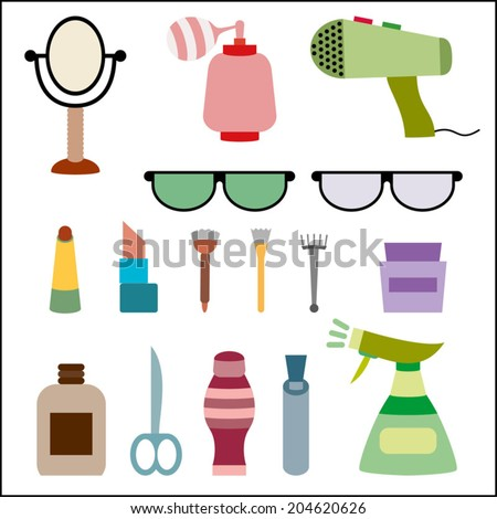 Beauty and spa salon icons set. Facial, body and hair care illustration. Hairdressing. Haircut equipment, glasses, vector illustration, isolated on white - stock vector