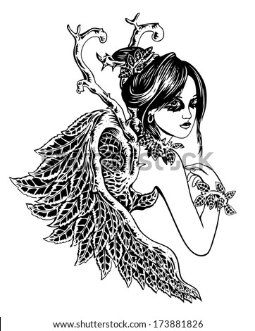 Beauty Angel. Black and white female illustration with leaf wings.  - stock vector