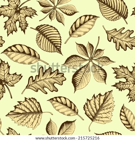Beauty autumn leaves. Seamless texture background. Vector illustration. - stock vector