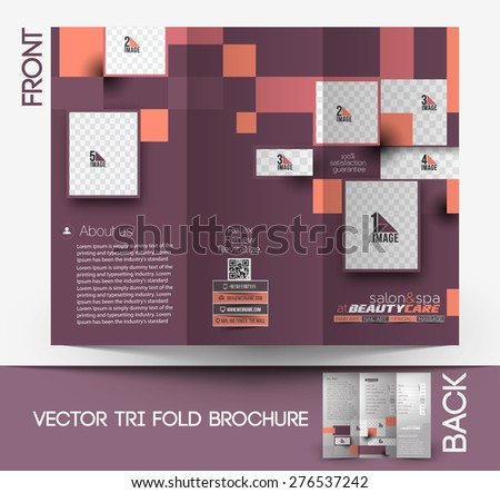 beauty care salon front tri fold mock up brochure design