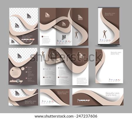 Beauty Care & Salon Stationery Set Template. - stock vector