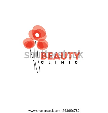 Beauty clinic logo design vector template. Red poppies icon - stock vector
