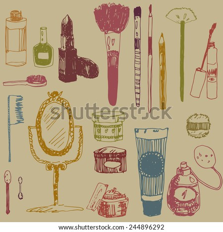 beauty colorful doodle set - stock vector
