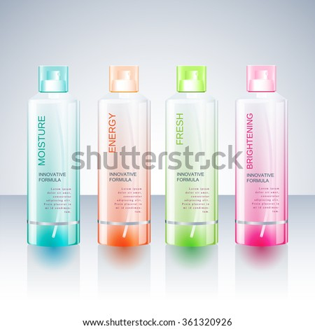 Beauty Cosmetics Packaging Design Templates Body Care Hair Shampoo Or Body  Care Shower Gel Bottles.