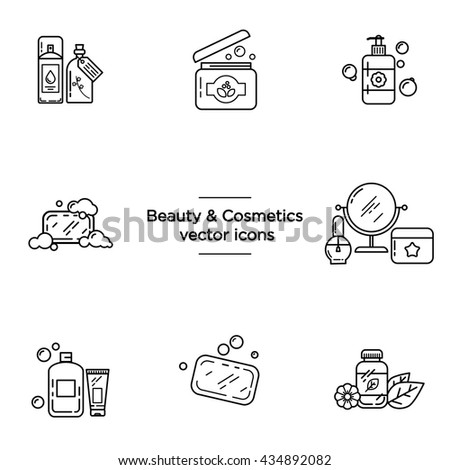 Beauty & Cosmetics vector icons set