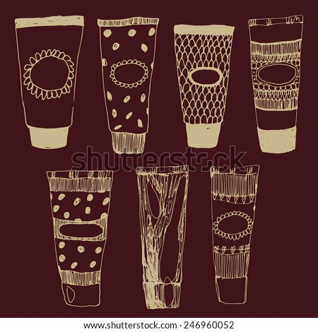 Beauty creme tubes. Cosmetics doodle set - stock vector
