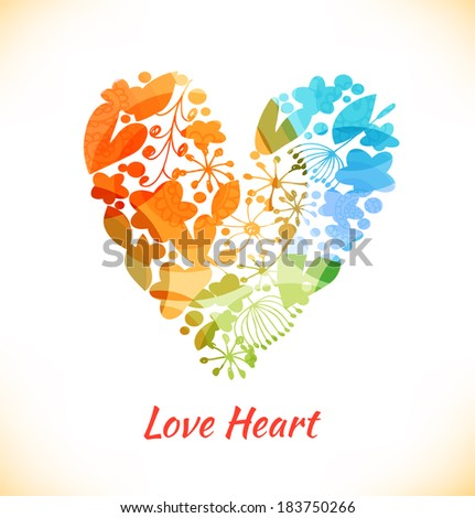 Beauty design element with flowers, leaves and hearts. Ornate multicolor heart with many cute details. Decorative love banner - stock vector