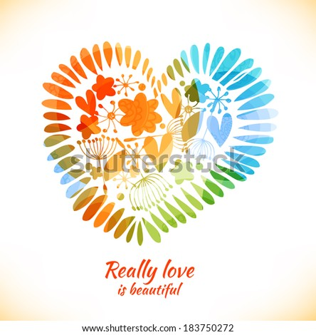 Beauty design element with flowers, leaves, petals and hearts. Ornate multicolor heart with many cute details. Decorative love banner - stock vector