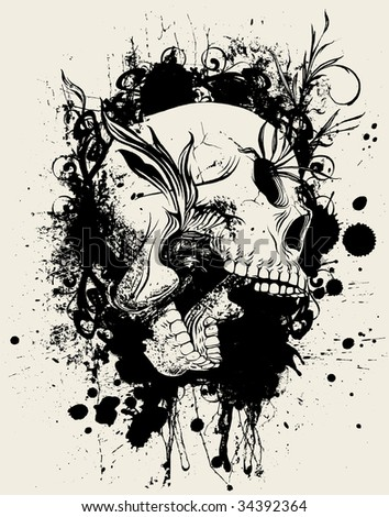 Beauty Destruct: Version 3 - Hand-inked vector collage of paint splatters, scroll and flourish design elements and skull.