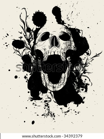 Beauty Destruct: Version 5 - Hand-inked vector collage of paint splatters, scroll and flourish design elements and skull.